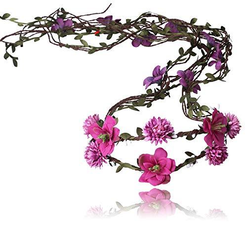 AWAYTR Boho Braut Blume Girlande Stirnband - Frauen Mädchen Einstellbare Baum Rattan Blatt Floral Haar Kranz Hochzeit Fotografie Dekoration (Lila Rot)