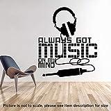 AELAHER Got Music On My Mind Wandaufkleber Home Decor Headset Wandtattoo Abnehmbare Haus Dekoration Kopfhörer Aufkleber 69X58Cm
