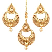 I Jewels Gold Plated Earring Set with Maang Tikka for Women (TE2415FL)