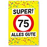 DankeDir! 75 Alles Gute - Kunststoff Schild (Gelb), Geschenk 75. Geburtstag, Geschenkidee Geburtstagsgeschenk Fünfundsiebzigsten, Geburtstagsdeko/Partydeko / Party Zubehör/Geburtstagskarte