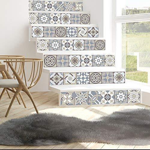 Walplus Wandaufkleber ablösbar selbstklebend Wandkunst Aufkleber Vinyl Wohndeko DIY Wohnzimmer Schlafzimmer Küche Dekor Tapete Geschenk Kalkstein Spanish Fliesen Wand Sticker - 15cm x 15cm - 24 stk.