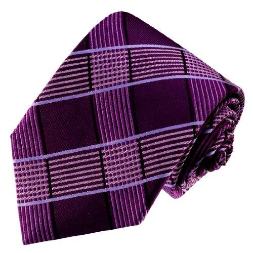 LORENZO CANA - Dunkelviolett beere lila Karo Marken Krawatte aus 100% Seide - 84513 (Kreis-muster-krawatte)