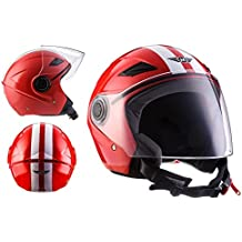 MOTO U52 Racing Red · Biker Vespa Scooter Retro Urban Casco Demi-Jet Cruiser Helmet Moto motocicleta Urbano Vintage Piloto Bobber Chopper Mofa · ECE certificado · visera incluido · incluyendo bolsa de casco · Rojo · S (55-56cm)