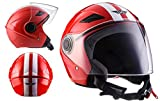 MOTO HELMETS U52 Racing Red Vintage Motorrad-Helm Vespa-Helm Scooter-Helm Retro Pilot Mofa Helmet Biker Jet-Helm Cruiser Chopper Bobber Roller-Helm, ECE zertifiziert, inkl. Sonnenvisier, inkl. Stofftragetasche, Rot (Racing Red), S (55-56cm)