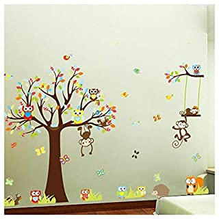 Forest Animals Owl Birds hanging Monkey Squirrel Colorful Tree Art Wall Stickers Decal for Nursery Home Decor Boys and Girls Children Courtyard Baby Room