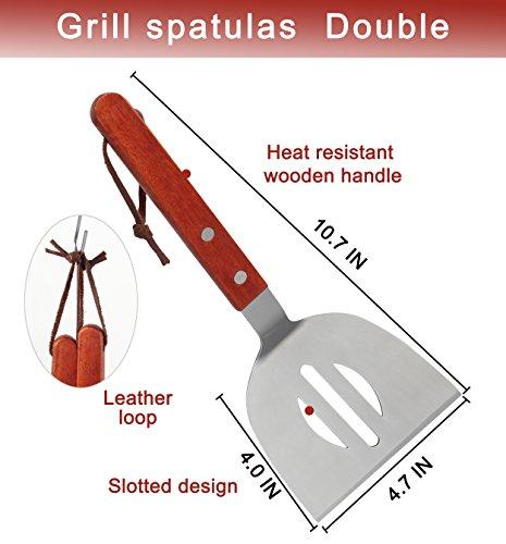 51SScRsfhzL - POLIGO 9-teiliges Grill-Grill-Zubehör für den Grill Grill-Set - Spatel, Fleischklauen, Würze Flaschen, Fleisch-Injektor und ein praktisches Design Gürteltasche für die Lagerung - Ideal für das Kochen im Freien