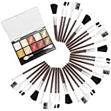 COM-FOUR® 32-teiliges Make-Up Set mit Lidschatten in Rottönen und Kosmetik Pinseln