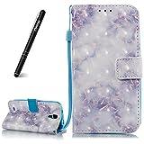 Schutzhülle für Samsung Galaxy S4 Blau,Slynmax Glitter Flip Cover Wallet Case Handyhülle für Samsung Galaxy S4 Tasche PU Leder Klapphülle Handytasche Stand Kartenfächer Magnetverschluss Shell