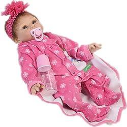 KEIUMI 2018 Nuevo Artículo Realistic Reborn Baby Dolls Ojos de Silicona Suave Abierto 22 Pulgadas Recién Nacido Niña Cumpleaños Regalo de Navidad