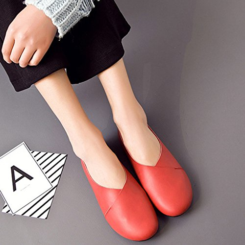 Ballerines Cuir mocassins Casual Loafers Marche Chaussures Femme Rouge