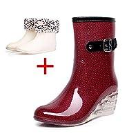Womens Rain Boots Wedge Heel Rain Shoes Fashion Side Zipper Wellies Booties Detachable Shoe Cover Size
