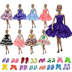 ZITA ELEMENT 10 PCS Party Dress and Shoes for Barbie Doll Outfits | 5 Skirt with 5 Shoes - Random Style Clothes and Accessories