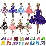 ZITA ELEMENT 10 Stück Puppen Sachen für Barbie 5er Abendkleid 5 Paare Schuhe Mädchen Prinzessin Kostüm Handgemachtes Partei Brautjungfer Festzug Minikleid Ballkleider Kleider