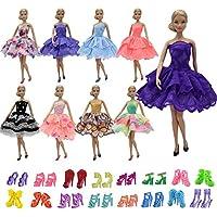 ZITA ELEMENT 10 Stück Puppen Kleider für Barbie 5er Abendkleid 5 Paare Schuhe Mädchen Prinzessin Kostüm handgemachtes Partei Brautjungfer Festzug