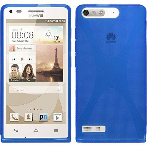 PhoneNatic Case kompatibel mit Huawei Ascend P7 Mini - blau Silikon Hülle X-Style + 2 Schutzfolien