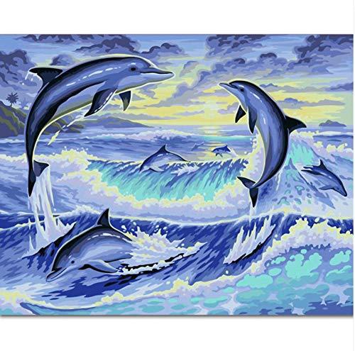 Rahmenlose DIY Digitale Färbung Acryl Malen Nach Zahlen Auf Leinwand Hochzeit Dekoration Wand Stick Handarbeit S Delphin 40X50 cm Geschenk (Färbung Bücher Hochzeit)