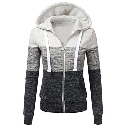 SHOBDW Manteaux Hiver Femme Chaud Veste à Capuche Hoodie Casual Sweatshirt Jumper Sport Hauts Tops Pullover Blouse Blouson Mode, Beige Rouge,S-XL (XL, Gris)
