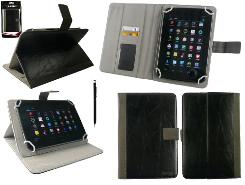 Emartbuy® Dragon Touch E70 / E71 7 Zoll Phablet Tablet PC Universalbereich Schwarz Distressed PU Leather Multi Winkel Folio Executive Case Cover Wallet Hülle Schutzhülle mit Kartensteckplätze + Schwarz 2 in 1 Eingabestift (Dragon Distressed)