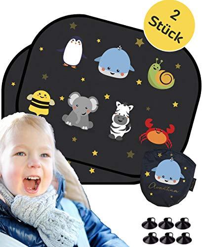 Sonnenblenden Baby von Avantina® - UV Schutz - Sonnenschutz für Kinder (2 Stück) I 44x36cm I Sonnenblende Auto Selbsthaftend inkl. Tasche