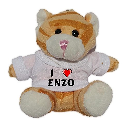 Brown Cat Plush Keychain with I Love Enzo (first name/surname/nickname)