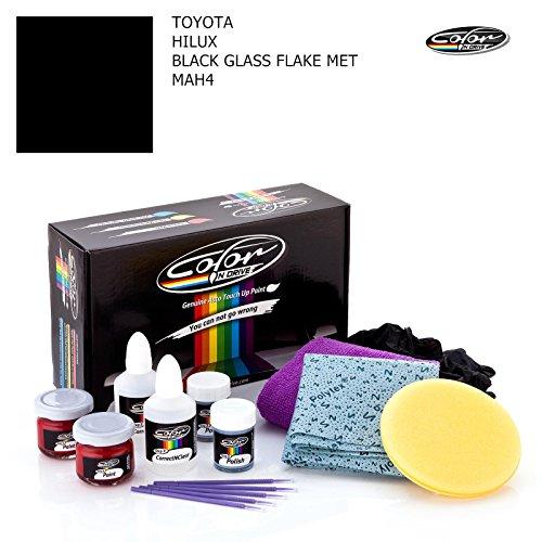TOYOTA HILUX / BLACK GLASS FLAKE MET - MAH4 / COLOR N DRIVE AUSBESSERUNGSLACK SET FÜR KRATZER UND STEINSCHLAGSPUREN AN IHREM AUTO / BASIC PACK -