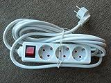 REV Ritter 0512315555 Steckdosenleiste 3-fach mit Schalter und Kinderschutz 5 m, weiß