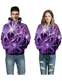 Tzzdwy Felpa Modello Autunno e Inverno Viola Foglia di Cannabis Felpa con  Cappuccio Digitale Felpa con 87fc68b0c5a