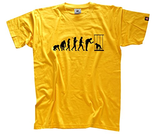 Shirtzshop Herren Standard Edition AFFE im Zoo Ape Evolution T-Shirt Gelb, XXXL
