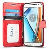 JD Coque Moto G4/G4 Plus, [Stand de Portefeuille] Etui Portefeuille de Protection Antichoc avec Stand pour Motorola Moto G4, Moto G4 Plus - Rouge