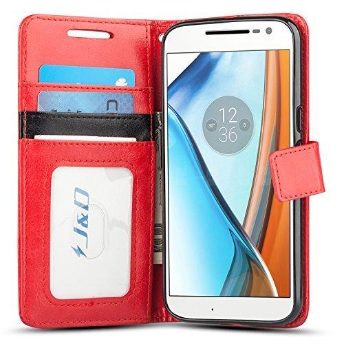 J & D Moto G4/G4 Plus Hülle, [Handytasche mit Standfuß] [Slim Fit] Robust Stoßfest Aufklappbar Tasche Hülle für Motorola Moto G4, Moto G4 Plus - Rot