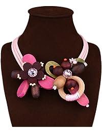 DELEY las Mujeres de la Moda de Madera de la Flor del Encanto de Cristal Babero Declaración Colgante Gargantilla Collar