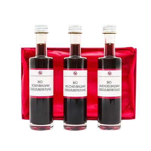 Bio Essig Set – Probier- und Geschenkset 3 x 50 ml, verschiedene Balsamessig-Sorten im Geschenkkarton – Lavendelblüten, Rosenblüten, Veilchenblüten – Manufaktur von