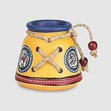 ExclusiveLane Terracotta Warli Hanpainted Table Top Organiser Knitted Pen Stand (8.6 cm x 8.6 cm x 8.1 cm, Yellow)