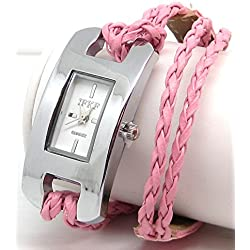 Ladies Oblong White Faced Watch with Pink Plaited Multi Stranded Strap