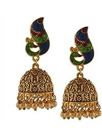 Zephyrr Traditional Handmade Jadau Jhumki Earrings With Pearls Meenakari For Girls And Women
