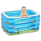 Aufblasbares Schwimmbad Planschbecken Kinder Erwachsene Badewanne Isolierung vier Ringe 143 * 105 * 75cm