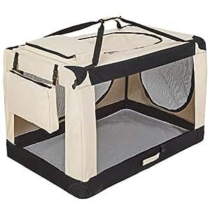 TecTake Cage sac box caisse de transport pour chien chat mobile XXXXL pliable beige 121x77x79cm