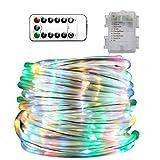 Lamker 100 LED Lichterschlauch Außen RGB 11M Bunte Lichterkette mit Batterie Schlauch 8 Modi und Fernbedienung IP44 Wasserdicht Dekoration Lichtschlauch für Innen Außen Party Weihnachten