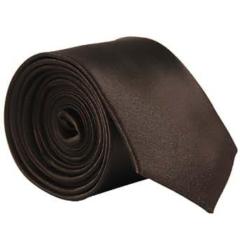 CellDeal Skinny Slim Mens Wedding Solid Plain Necktie Color Tie (brown)
