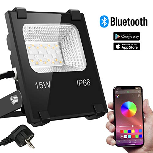 RGB 15W LED Strahler Bluetooth 16 Farben und 4 Modi Objektbeleuchtung LED Fluter Flutlichtstrahler, IP66 Wasserdicht LED Flutlicht, Außenstrahler Garten Stimmungslichter
