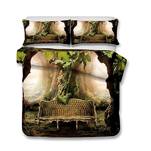 Bettwäsche Set Bettbezug und Kissenbezug Fantasiewald Stil Bettwäsche mit Verdecktem Reißverschluss 100% Polyesterfaser (Altes Baumsofa, 135 x 200 cm)