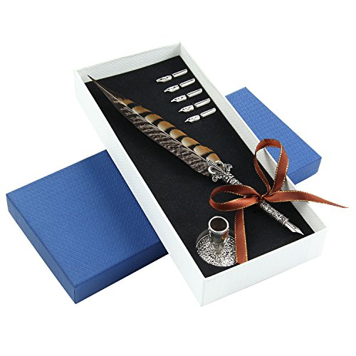 Aolvo Piuma, con portapenne, vintage antico metallo Full Feather penna stilografica per bambini ragazze donne con scatola regalo, Brown, taglia unica