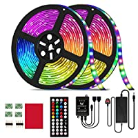 ‏‪LED Strip Light, 32.8ft RGB LED Light Strip SMD 5050 LED Lights,300 LEDS Color Changing LED Lights with 44 Keys IR Remote Lights for Home Decoration,12V Power Supply LED Light with Music Sync‬‏