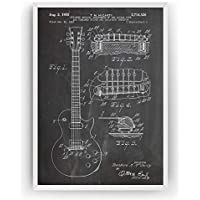 Electric Guitar Patent Print - Les Paul 1955 - Vintage Poster Wall Art Posters Gifts For Men Women Room Blueprint Teacher Decor - Frame Not Included