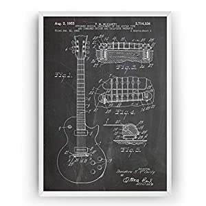 Elektrische Gitarre Patent Poster – Les Paul 1955 – Electric Guitar Jahrgang Drucke Drucken Bild Kunst Geschenke Zum…