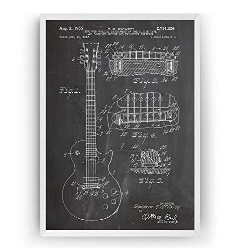 Elektrische Gitarre Patent Poster - Les Paul 1955 - Electric Guitar Jahrgang Drucke Drucken Bild Kunst Geschenke Zum Männer Frau Entwurf Dekor Art Gifts Decor - Rahmen Nicht Enthalten -