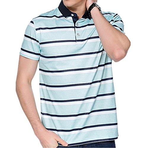 SHISHANG La fibra de bambú de la camiseta + algodón rayas solapa de