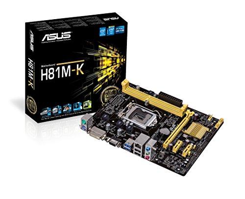 Asus H81M-K Mainboard Sockel LGA 1150 (ATX, Intel H81, 2x DDR3 Speicher, 2x SATA III, VGA, DVI-D, 2x USB 3.0)