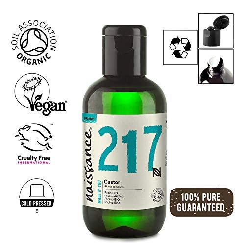 Naissance Rizinusöl BIO (Nr. 217) 100ml - kaltgepresst, rein, natürlich, BIO zertifiziert, vegan, hexanfrei, gentechnikfrei - pflegt Haare, Wimpern und Augenbrauen