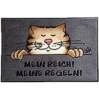 Lavable Felpudo © con texto en piedra gato - Mi rico! Mis reglas! 50 x 75 cm wash + dry